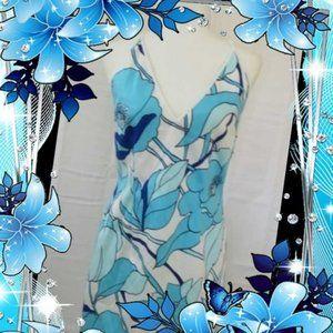 Grace Dane Lewis Turquoise Floral Bodycon Dress 10
